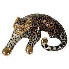 Vintage 14K Yellow Gold & Enamel Animal Print Cheetah, Leopard Slide Signed SLC