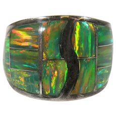 Sterling Silver Native American Fire Opal Inlay Ring Vintage