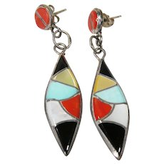 Sterling Silver Native American ZUNI  Drop Earrings  with Turquoise, Red Coral & Mother of Pearl Inlay.
