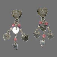 Sterling Silver Vintage (1970's) Heart dangle drop earrings.