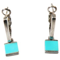 Sterling Silver Turquoise Earrings vintage Signed SU Thailand.