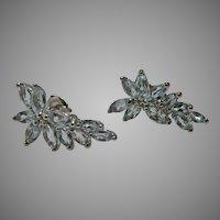Sterling Silver Floral Cluster Sky Blue Topaz Earrings Vintage
