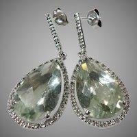 Sterling Silver Vintage Green Lemon Quartz Dangle Earrings With CZ Accents.