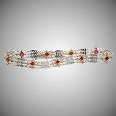 18K White gold Ruby & Diamond Vintage 1980's Bracelet By  TYCOON