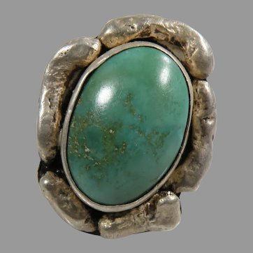 Sterling Silver Hand Made Turquoise Ring Vintage