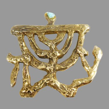 14K Gold Plated Hand Made Jewish Brooch From Israel Artist Signed