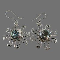 Sterling Silver & Abalone Sun Earrings Vintage Hand Made