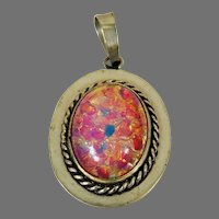Vintage Sterling Silver Mexican Fire Opal Pendant