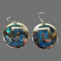 Vintage Sterling Silver Alpaca Mexico Inlay lapis and Turquoise Dangle Earrings