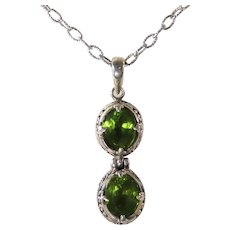 """Sterling Silver Vintage Peridot Pendant on 18"""" Chain"""