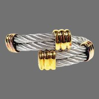 ESTATE Philippe Charriol Stainless & 18K Gold Plate Cable Bracelet