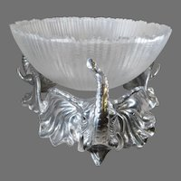 Vintage Rare Retired Arthur Court Cast Elephant Stand with Large Crystal Bowl