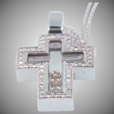 18 K White Gold & Crystal Diamond Cross