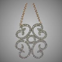 Vintage 14 K white gold pave diamond scroll free form pendant with 14k rose gold chain