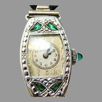 14 K White Gold Art Deco Bulova Ladies  Emerald Watch
