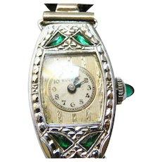 14 K White Gold Art Deco Bulova Ladies  Emerald Watch