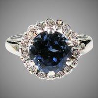 14K White Gold Sapphire & Diamond Ring.