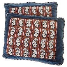 Blue Beaded Pillows