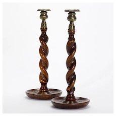 Jacobean Brass Trim Wooden Candlesticks, c. 1905