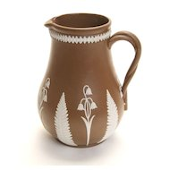 """5"""" Tall Brown and White Floral Jasperware Pitcher"""