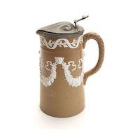 Brown & White Jasperware Coffee Pitcher w/ Lion Head Design, c. 1840