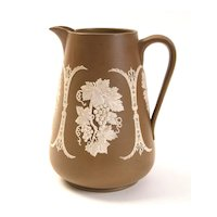 Brown and White Jasperware Pitcher