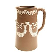 Jasperware Pitcher with White Lion Head Design