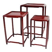 Red Laquer nesting tables Circa 1900