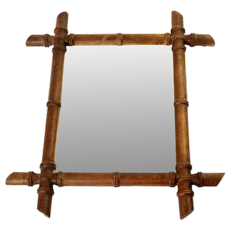 Small Wooden Mirror Bamboo style