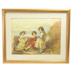 Watercolor Painting of Children