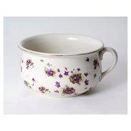 English White Porcelain Pot w/ Purple Flowers & Gold Rim, c. 1860