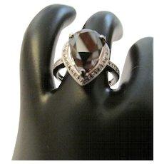 4.97 Carat Black Diamond Engagement Ring in Fourteen Karat Gold