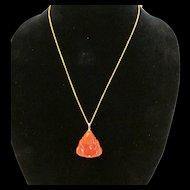 Red Jade Buddha Pendant on 24 Karat Gold Chain