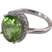 5.3 Carat Peridot and Diamond Ring in 14 k White Gold