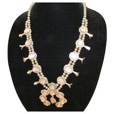 Native American Silver and Mother of Pearl Squash Blossom Necklace