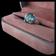 8.50 Carat Blue Zircon, Diamond 14k Gold Ring