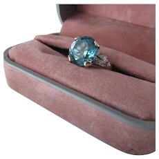 8.50 Carat Blue Zircon, Diamond 14k Gold Ring