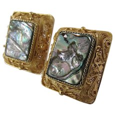 Austro Hungarian Renaissance Revival Style Mother of Pearl Earrings