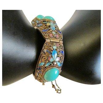 Silver Enameled Chinese Export Bracelet