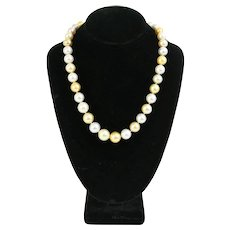 Multicolor South Sea Pearl Necklace with Diamond and 18 Karat Gold Clasp