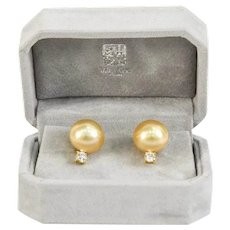 Golden South Sea Pearl and Diamond 18K Gold Earrings