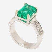 Three Carat Emerald and Diamond Eighteen Karat White Gold Ring
