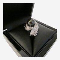 Tahitian Pearl Diamond and Platinum Ring