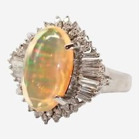 Jelly Fire Opal and Diamond Platinum Ring