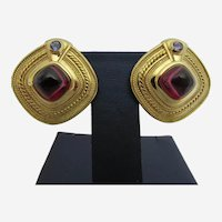 33 Gram Seidengang Eighteen Karat Yellow Gold Garnet and Tanzanite Earrings