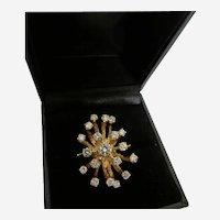Diamond and Fourteen Karat Yellow Gold Spray Ring