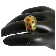 Sapphire Ruby Emerald 18K Yellow Gold Dome Ring