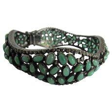 Green Beryl and Diamond Bangle Bracelet