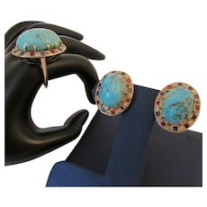 Turquoise Diamond Sapphire Ruby 14k Rose Gold Suite