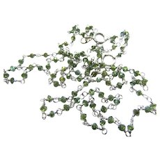 Green Diamond Bead 18k White Gold Necklace